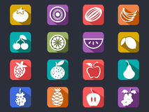 Fruit flat icons set with long shadow Royalty Free Stock Photography
