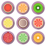 Fruit flat  icons with  shadow Stock Image