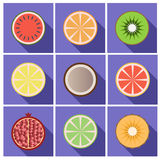 Fruit flat  icons with  shadow Royalty Free Stock Photos