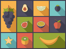 Fruit Flat Icons Vector Illustration Royalty Free Stock Photo