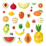 Fruit flat style big vector icon set isolated. Royalty Free Stock Photos
