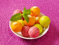 Fruit flavored bonbons Royalty Free Stock Photos