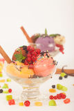 Fruit flavored ice cream with dry fruit Stock Image