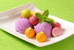 Fruit-flavored ice cream and pralines Royalty Free Stock Photo