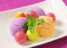 Fruit-flavored ice cream and pralines Stock Image