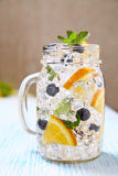 Fruit Flavored Water. Naturally Flavored Fruit Water with Orange, Blueberry and Mint royalty free stock images