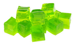 Fruit Flavour Jelly Cubes. Group of lime fruit flavoured jelly cubes isolated on a white background Royalty Free Stock Photos