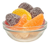 Fruit Flavoured Jellies. An assortment of fruit flavoured jelly sweets in a glass bowl, isolated on a white background Royalty Free Stock Photos