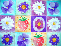 Fruit and flower background. An illustrated background with abstract designs of fruits and flowers in bright colors Stock Illustration