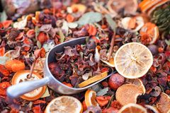 Fruit Flower Cinnamon Potpourri with Scoop royalty free stock photo