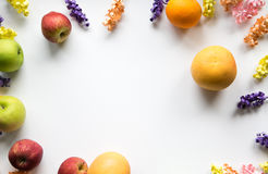 Fruit & Flower Frame. Colorful frame of Fruit and flowers Royalty Free Stock Photo