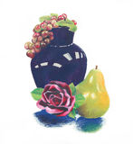 Fruit and flower still life oil pastel painting. Bright colorful oil pastel still life of dark blue vase and purple grapes with pink red rose and green yellow Royalty Free Stock Photography