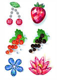 Fruit flowers colored gems brooches set Royalty Free Stock Photos