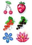 Fruit flowers colored gems brooches set. Set of summertime fruit flowers colored gems brooches on white background, vector illustration royalty free illustration