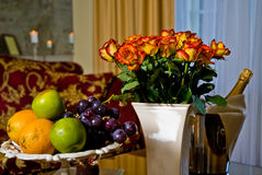 Fruit, flowers and wine stock image