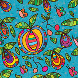 Fruit fly butterfly seamless pattern. This illustration abstract fruit plant follow butterfly flying in blue color seamless pattern Royalty Free Stock Photography