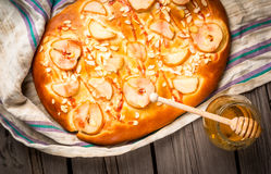 Fruit focaccia cake with pears and almonds Stock Photo