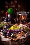 Fruit fondue. A fresh and tasty fruit fondue royalty free stock photos