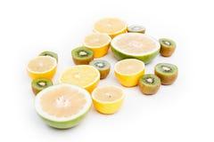 Fruit food citrus slice orange, lemon on white Stock Photography
