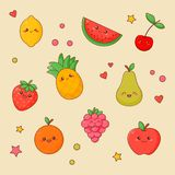 Fruit Food Kawaii Cute Face Set. Orange and Apple royalty free illustration