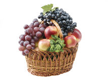 Fruit food objects in a basket stock images