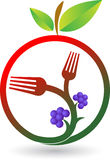 Fruit fork logo. Illustration art of a fruit fork logo with background royalty free illustration