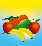 Fruit four set. Abstract fruit four set, red apple two. green mango. double oranges and yellow banana Stock Image