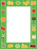 Fruit frame. Green striped frame with collection of fruit Royalty Free Stock Photography