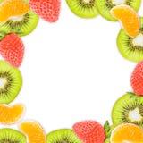 Fruit frame isolated on white Stock Photos