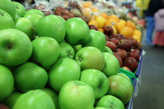 Fruit. Fresh green apple in the market Stock Images