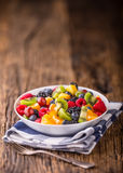 Fruit fresh mixed tropical fruit salad. Bowl of healthy fresh fruit salad - died and fitness concept.  stock photography