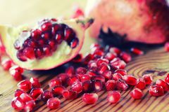 Fruit fresh red pomegranate. Seeds Stock Photos