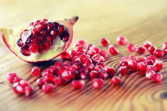 Fruit fresh red pomegranate. Seeds Royalty Free Stock Image