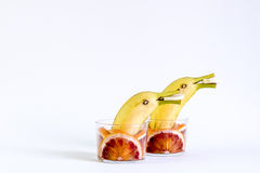 Fruit, fruit with dolphins, playing with fruit Stock Image