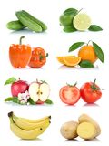 Fruit fruits and vegetables banana collection isolated apple ora Royalty Free Stock Images