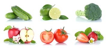 Fruit fruits and vegetables collection isolated apple colors tom Stock Photos