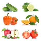 Fruit fruits and vegetables collection isolated apple orange col Stock Photography