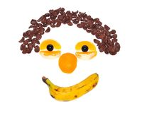 Fruit fun. Isolated Fruit forming a face Royalty Free Stock Image