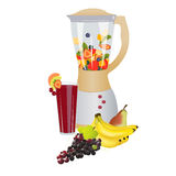 Fruit fusion. Mixer with fresh slices fruits inside,colorful composition of fruits in front and fresh made juice decorated with fruits,on white background Stock Photos