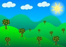 Fruit garden hills in sunshine day. Stock Image