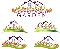 Fruit garden and house Stock Photography
