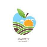 Fruit gardens and farming  logo, label, emblem design. Fields landscape in apple shape. Concept for agriculture, harvesting, gardens, natural farm, organic Stock Images