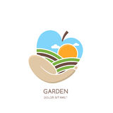Fruit gardens and farming  logo, label, emblem design. Fields landscape in apple shape. Hand holding apple. Concept for agriculture, harvesting, gardens Royalty Free Stock Photography