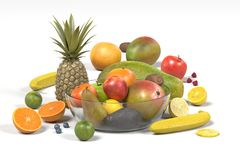 Fruit with glass bowl. Realistic 3d render of fruit with glass bowl Royalty Free Stock Photo