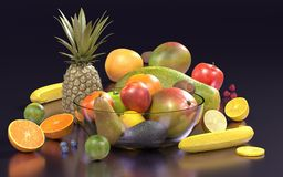 Fruit with glass bowl. Realistic 3d render of fruit with glass bowl Royalty Free Stock Photography
