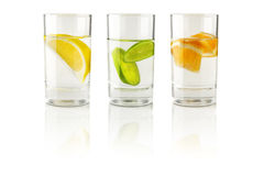 Fruit in a glass of water Royalty Free Stock Image