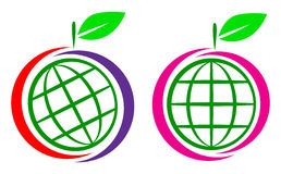 Fruit globe logo. Simple illustration of fruit globe logo on white background Stock Photos