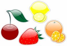 Fruit glossy stickers Royalty Free Stock Image