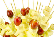 Fruit grape banana scewers stick diet food Stock Images