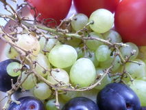 Fruit, grapes and plums Royalty Free Stock Photos